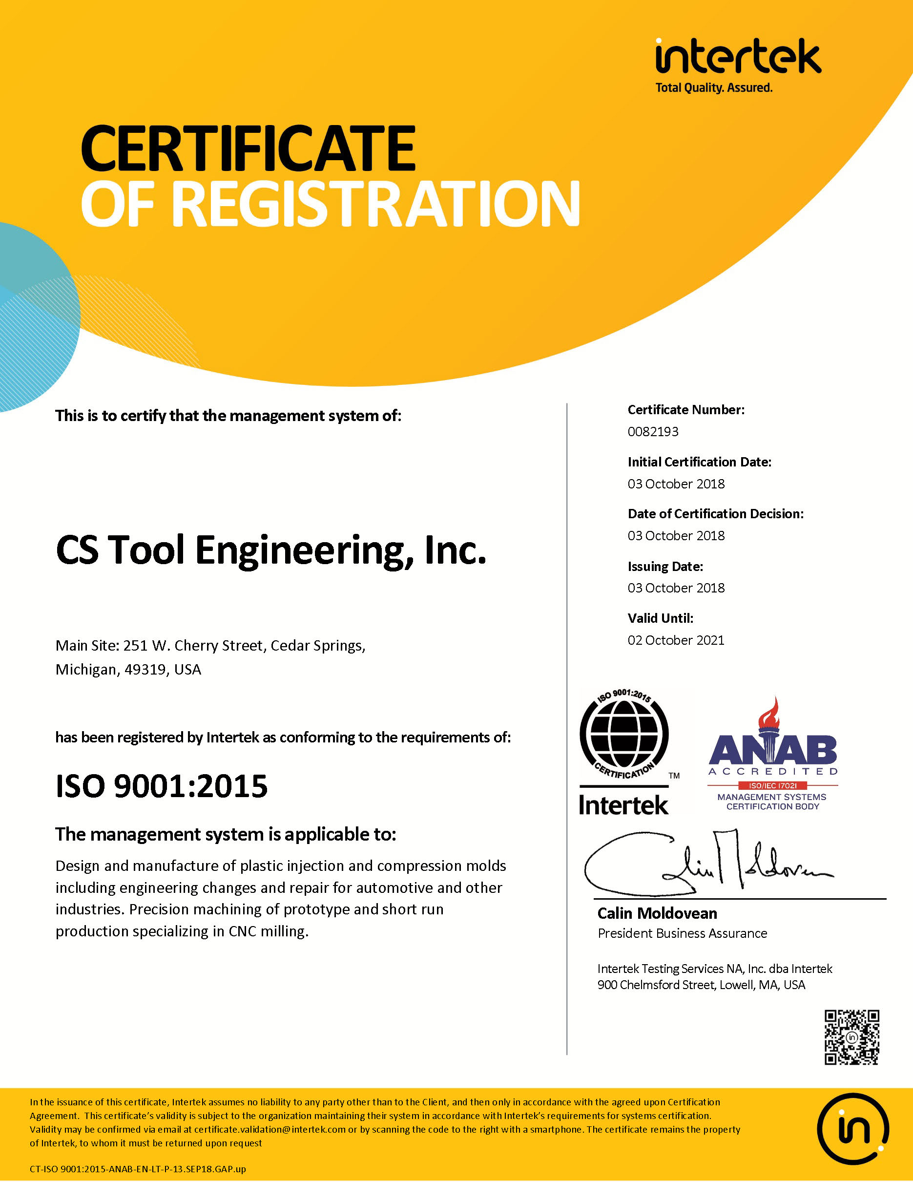 CS Tool Engineering ISO 2001:2015 Certificate